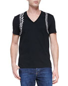 Skeleton-Harness V-Neck Tee, Black