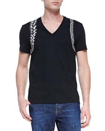 Skeleton-Harness V-Neck Tee & Stone-Wash Stretch-Denim Jeans