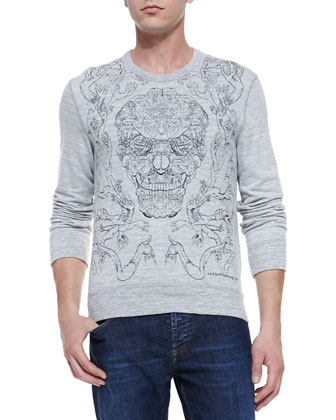 Embroidered-Skull Knit Sweatshirt & Stone-Wash Stretch-Denim Jeans