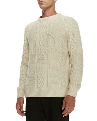 Skull-Knit Crewneck Sweater, Ivory