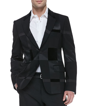 Long-Sleeve Harness Shirt & Patchwork Two-Button Jacket
