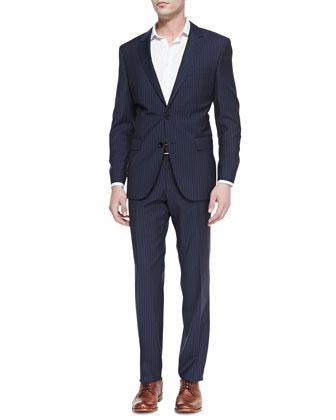 James Pinstriped Two-Piece Suit, Navy