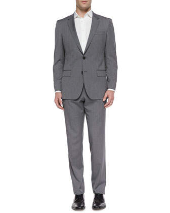 Huge Slim-Fit Two-Piece Suit, Light Gray