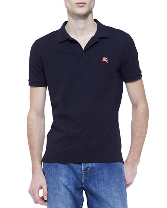 Pique Short-Sleeve Polo Shirt, Black