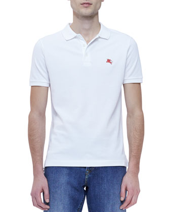 Pique Short-Sleeve Polo Shirt, White