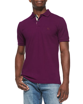 Check-Placket Pique Polo, Purple