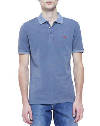 Pique Short-Sleeve Polo Shirt, Blue