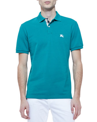 Pique Short-Sleeve Check-Placket Polo Shirt, Aqua