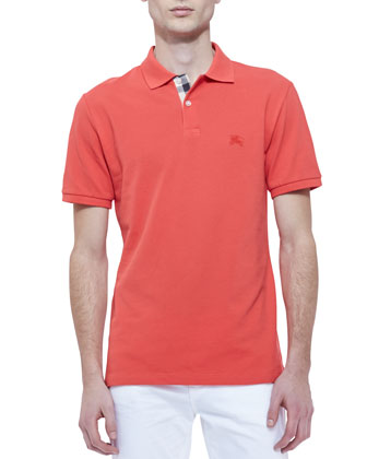 Pique Short-Sleeve Polo Shirt with Check Placket, Coral
