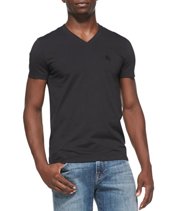 Equestrian Knight V-Neck Tee, Black