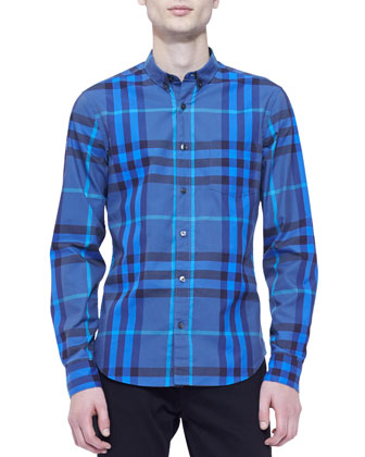 Classic-Check Long-Sleeve Shirt, Blue