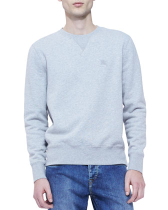 Jersey Crewneck Sweatshirt, Light Gray