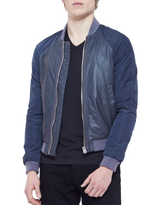 Napa Leather & Nylon Blouson Jacket