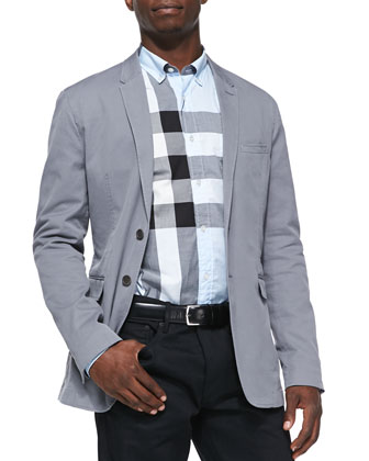 Soft Jacket with Check Undercollar, Gray