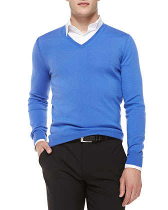 Merino Wool V-Neck Sweater, Blue