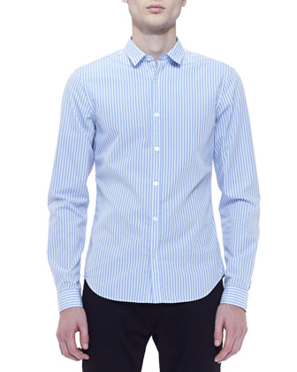 Striped Cotton Long-Sleeve Shirt, Blue