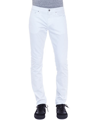 Slim-Leg Denim Jeans, White