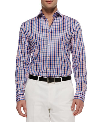 Jason Multi-Check Button-Down Shirt, Pink