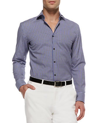 Jaser Slim-Fit Gingham Sport Shirt, Blue