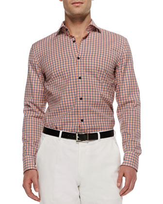 Jaser Slim-Fit Gingham Sport Shirt, Orange