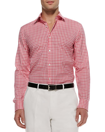Jenno Plaid Point-Collar Shirt, Pink