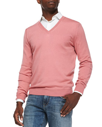 Merino Wool V-Neck Sweater, Pink