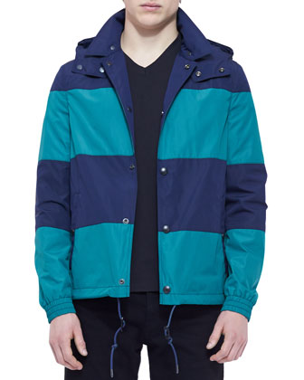 Colorblock-Stripe Rain Jacket