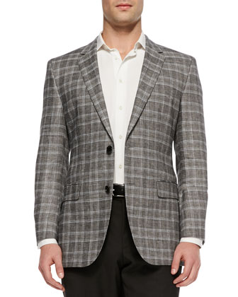 James Regular-Fit Plaid Sport Coat, Black