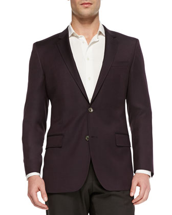 Slim-Fit Hopsack Jacket, Burgundy