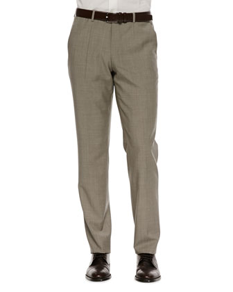 Flat-Front Dress Pants, Tan