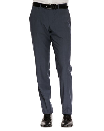 Flat-Front Dress Pants, Slate Blue