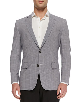Check-Seersucker Slim-Fit Sport Coat, Blue