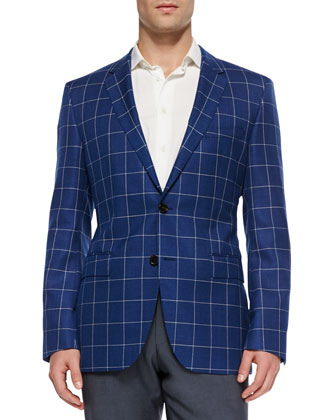 Windowpane-Check Sport Coat, Blue