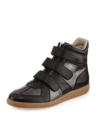 Three-Strap High-Top Sneaker, Blue