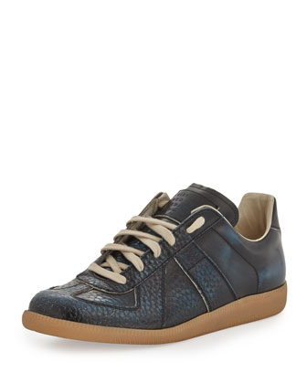 Replica Low-Top Leather Sneaker, Blue/Black