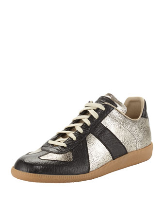 Replica Men's Low-Top Crackle Sneaker, Black/Gold
