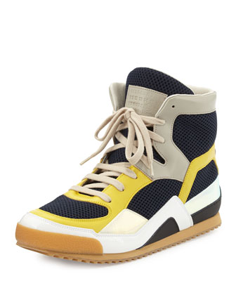 Men's Mesh & Leather High-Top Sneaker, Navy/Yellow