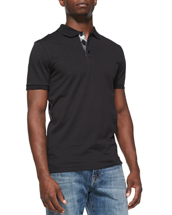 Check-Placket Pique Polo, Black