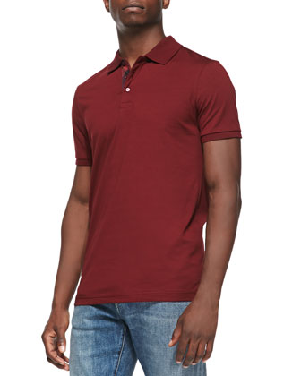 Check-Placket Jersey Polo, Maroon