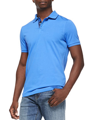 Check-Placket Pique Polo, Blue