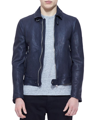 Leather Biker Jacket, Navy