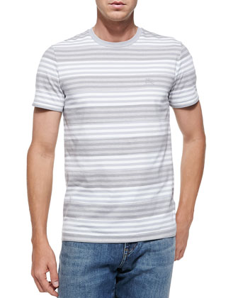 Crewneck Striped Tee, Lt. Gray
