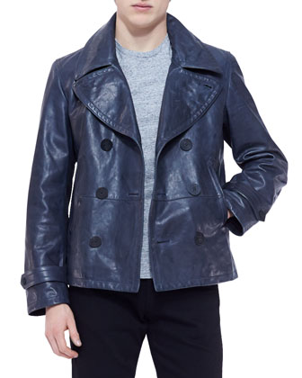Double-Breasted Leather Pea Coat
