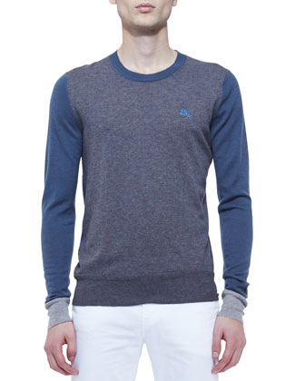 Tri-Tone Colorblock Cashmere Sweater