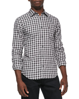 Gingham Long-Sleeve Shirt, Light Gray