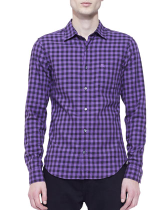 Gingham Long-Sleeve Shirt, Purple