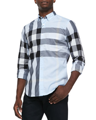 Exploded Check Button-Down Shirt, Light Blue