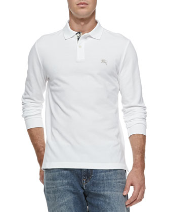 Long-Sleeve Pique Polo, White