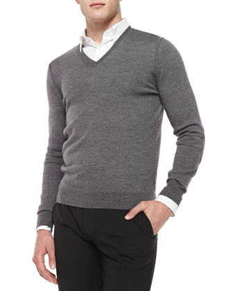 Merino Wool V-Neck Sweater, Mid Gray