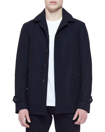 Single-Breasted Wool/Cashmere Blend Car Coat